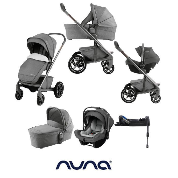 Nuna Mixx (Pipa Lite) Limited Edition Travel System, Isofix Base & Carrycot - Threaded Grey
