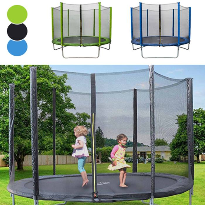 8ft, 10ft or 12ft Enclosured Trampoline with Safety Net - 3 Colours