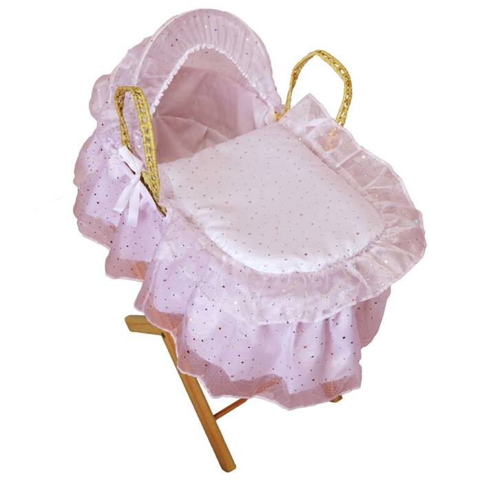 Cuddles Collection Dolls Moses Basket with Stand