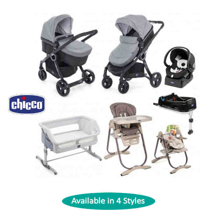 Chicco - 4 Piece Urban Plus Travel System Everything You Need Bundle 4styles