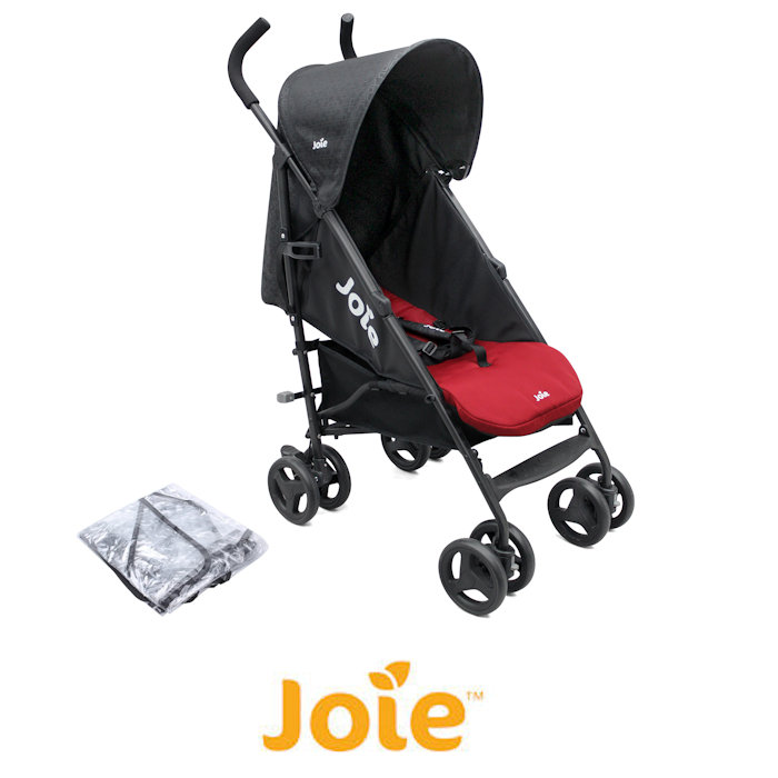 Joie Nitro Pushchair Stroller with Raincover - Black & Red