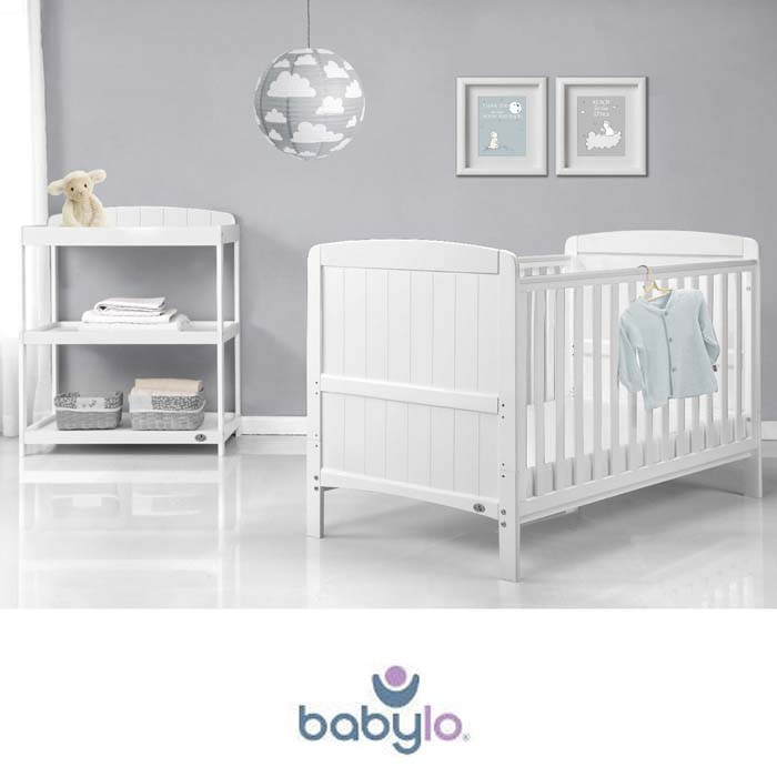 Babylo 3pc Sienna Cot Bed Nursery Furniture Room Set with Fibre Mattress