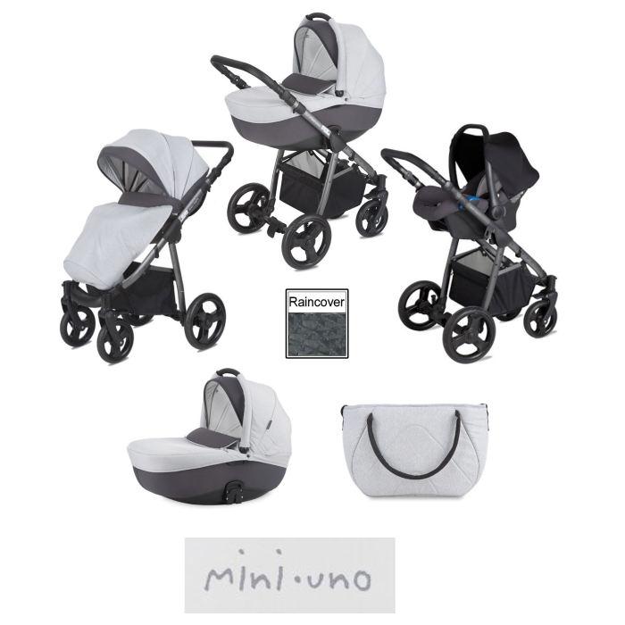 Mini Uno Stride Travel System - Grey Melange