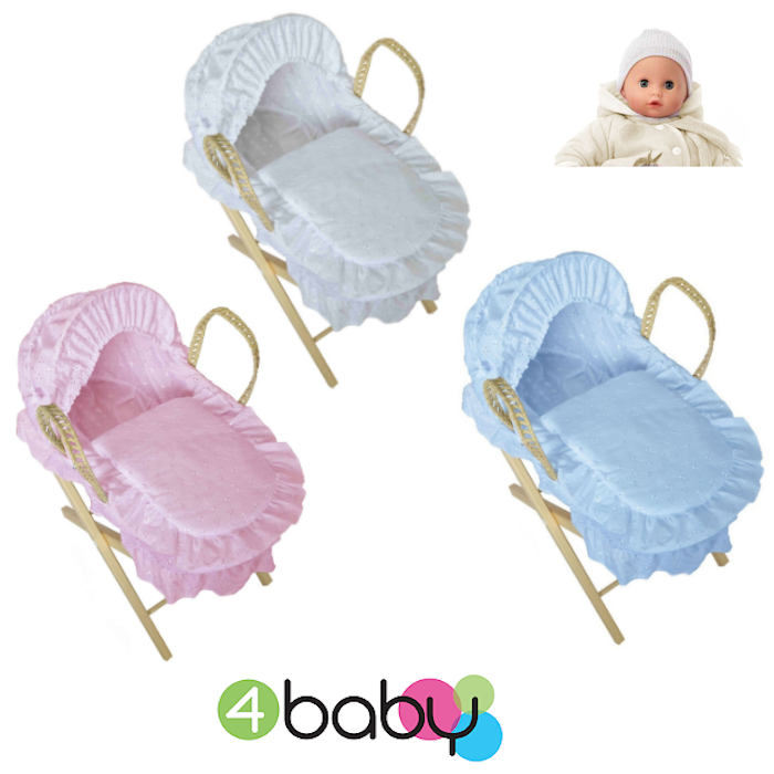 4Baby Luxury Dolls Broderie Anglaise Moses Basket & Pine Stand