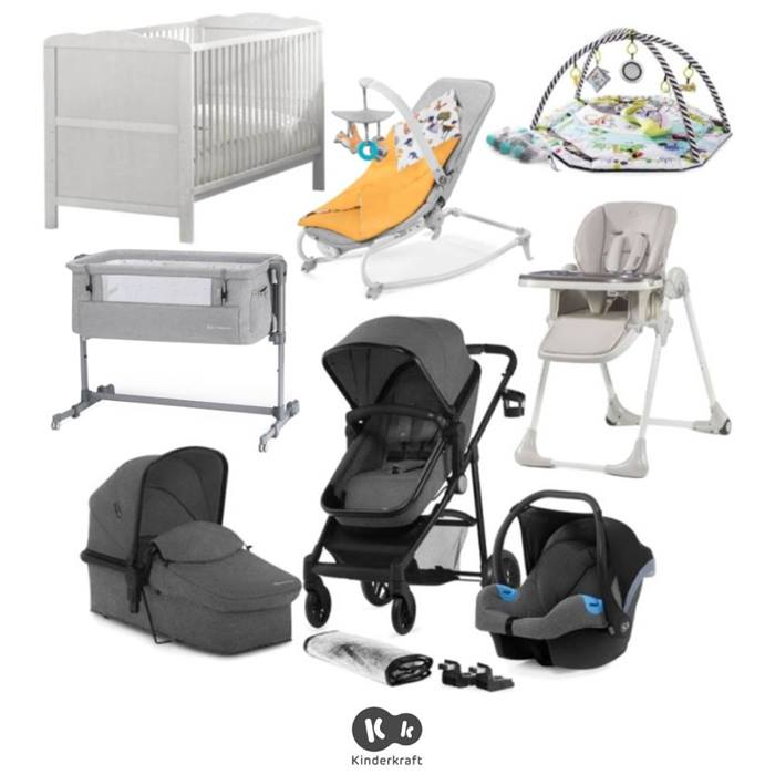 Kinderkraft Juli 10 Piece Newborn Bundle - Grey/Yellow