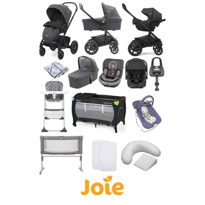 Joie Chrome DLX (i-Gemm 2 & i-Venture) Travel System with Roomie 5 Piece Bedside Crib Bundle