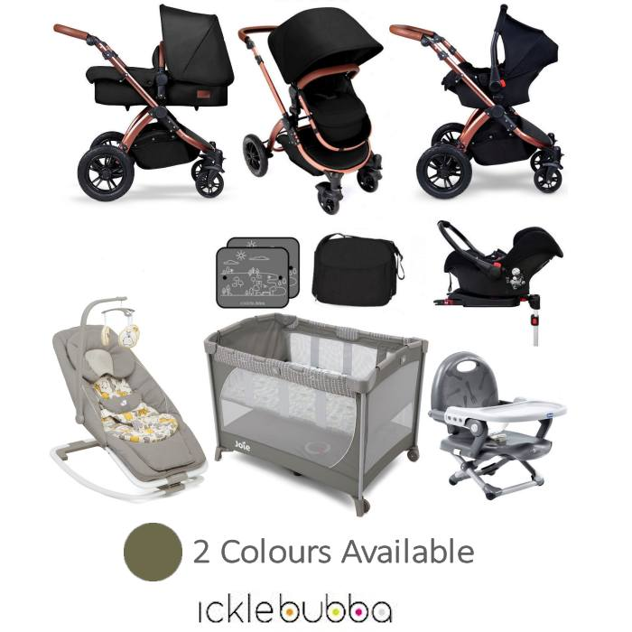 Ickle Bubba / Joie Special Edition Stomp V4 Everything You Need Travel System Bundle (With Base)