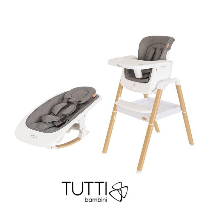 Tutti Bambini 2in1 Nova Highchair/Rocker Bundle - Oak/White