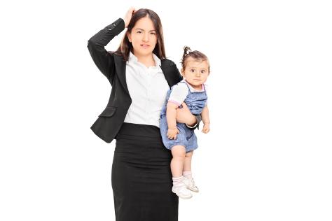 Mum in suit holding baby