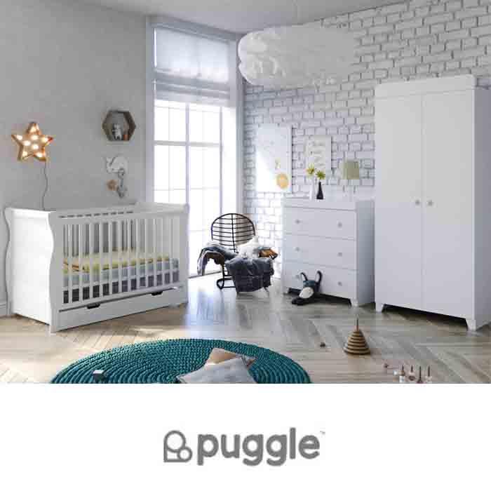 Puggle Little Acorns Sleigh Cot 6 Piece Nursery Furniture Set With Deluxe 4inch Foam Mattress