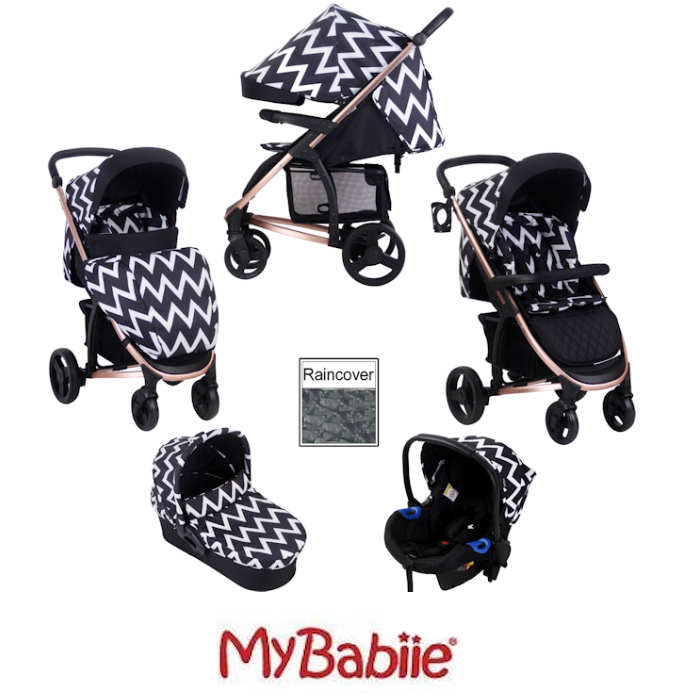 My Babiie MB200+ *Katie Piper Collection* Travel System & Carrycot - Rose Chevron