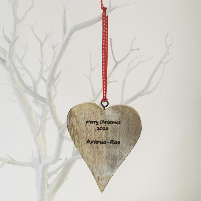 rustic chunky personalised christmas wooden hanging heart