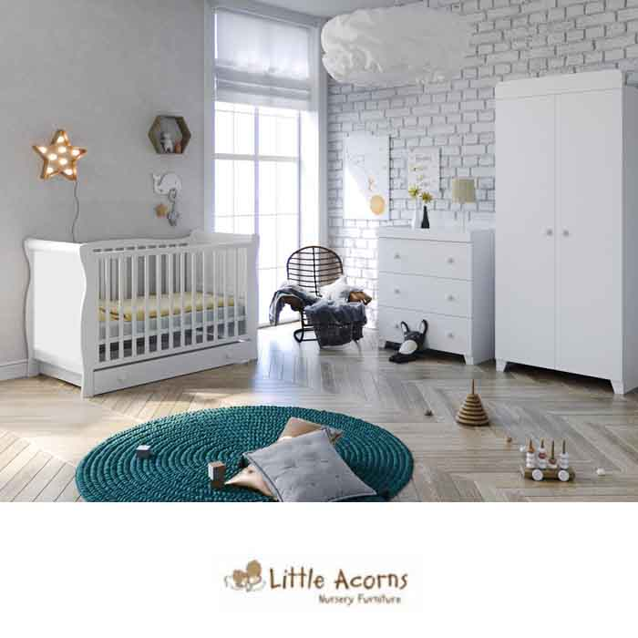 Little Acorns Chelmsford Sleigh Cot Bed 5 Piece Nursery Room Set with Eco Fibre Mattress
