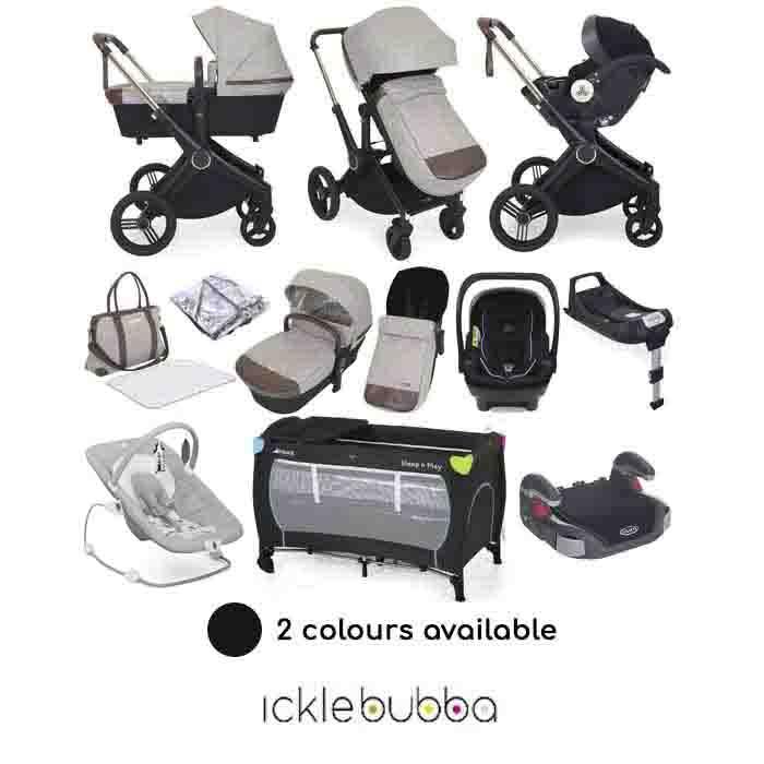 Ickle Bubba Aston Rose (Mercury) 13 Piece Everything You Need Travel System Bundle with ISOFIX Base