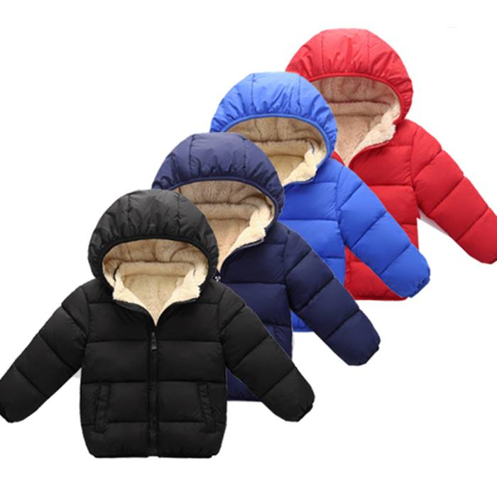 Kids' Puffer Winter Jacket With Faux Fur Lining - 4 Colours & 5 Sizes