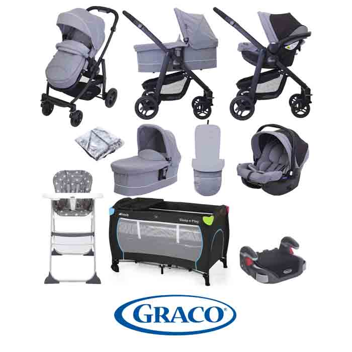 Graco Evo (SnugEssentials Car Seat) Everything You Need Travel System Bundle with Carrycot