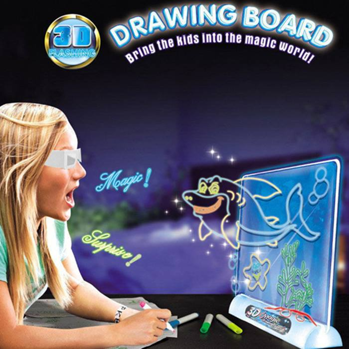 LED Drawing Board With 3D Glasses & 4 Neon Pens - 5 Designs