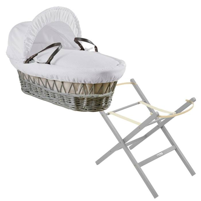 Clair de Lune Grey Wicker Moses Basket & Folding Stand Bundle