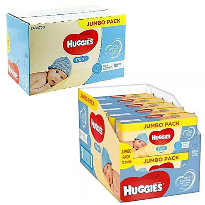 Jumbo 10-Pack of Huggies Pure Baby Wipes - 720 Wipes!