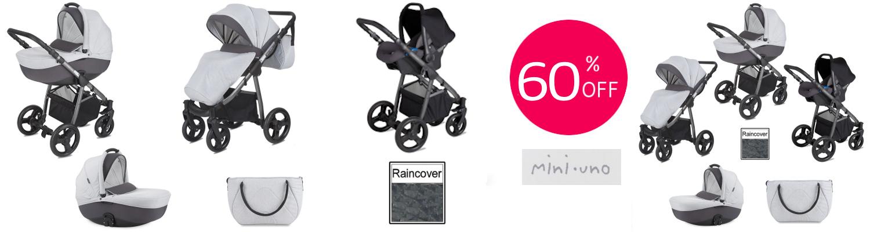 Mini Uno Stride Travel System - Grey Melange- carousel