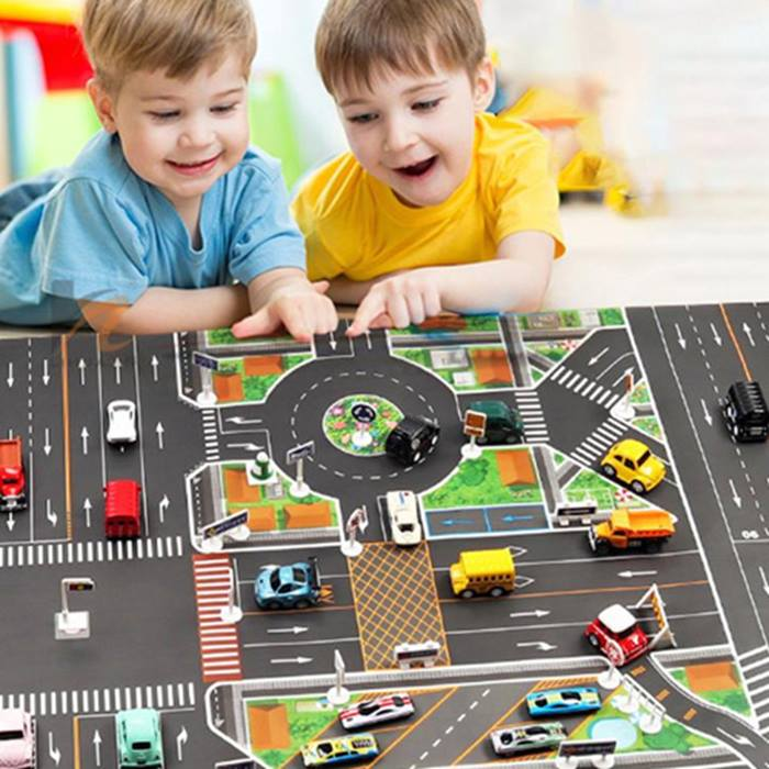 Kids' Road Map With Traffic Signs