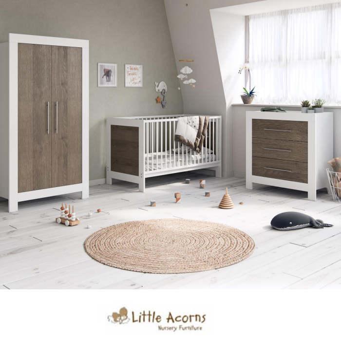 Little Acorns Luxury Portland Cot Bed 5 Piece Nursery Furniture Set With Deluxe 4inch Foam Mattress - White/Grey Oak