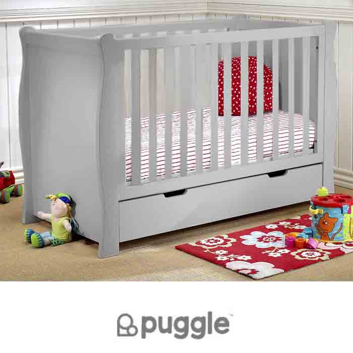 Puggle Sleigh Cot With Drawer & Foam Mattress