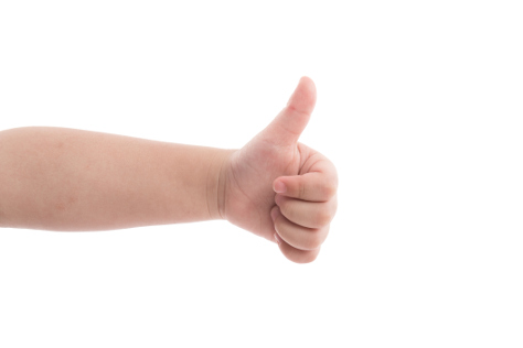 Baby thumbs up