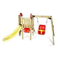 Plum wooden swing set 250