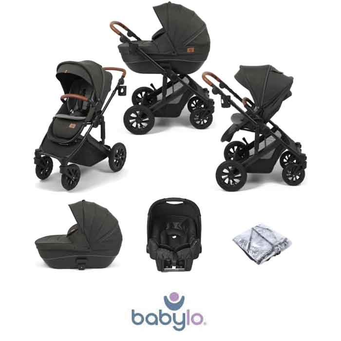 Babylo Traverse 2in1 Gemm Travel System with Carrycot Black Grey