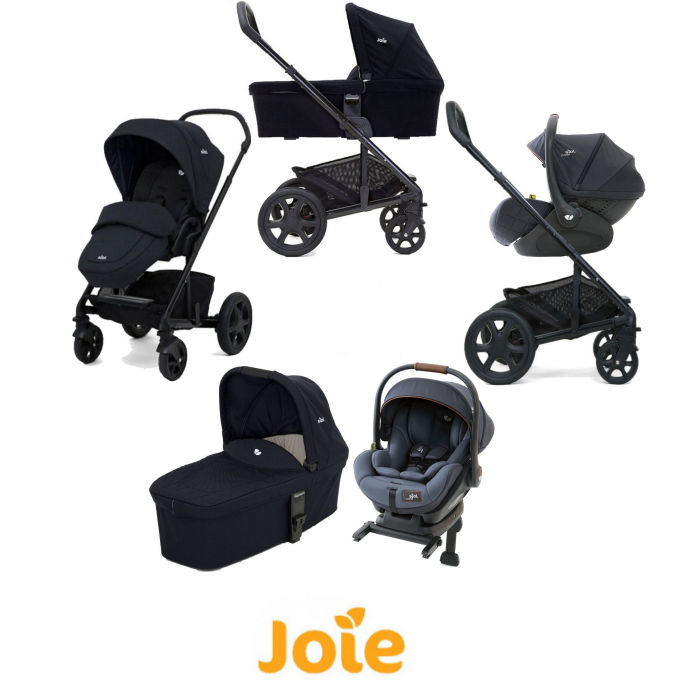Joie Chrome DLX (i-Level) Travel System With Carrycot (inc Footmuff & ISOFIX Base) - Navy Blazer / Granit Bleu