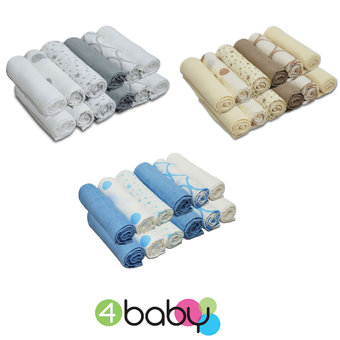4baby Cotton Muslin Squares (12 Pack) Mixed Designs
