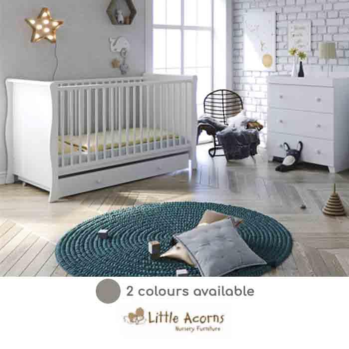 Little Acorns Sleigh Cot Bed 4 Piece Nursery Furniture Set With Deluxe 4inch Foam Mattress