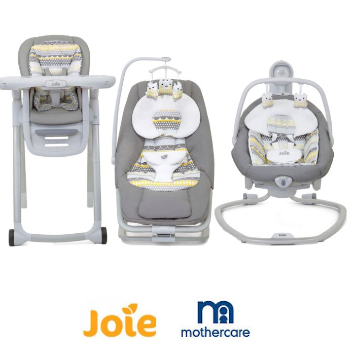 Joie Mothercare Exclusive 6 in 1 Highchair with Swing & Dreamer Rocker 3 Piece Bundle - Heyday