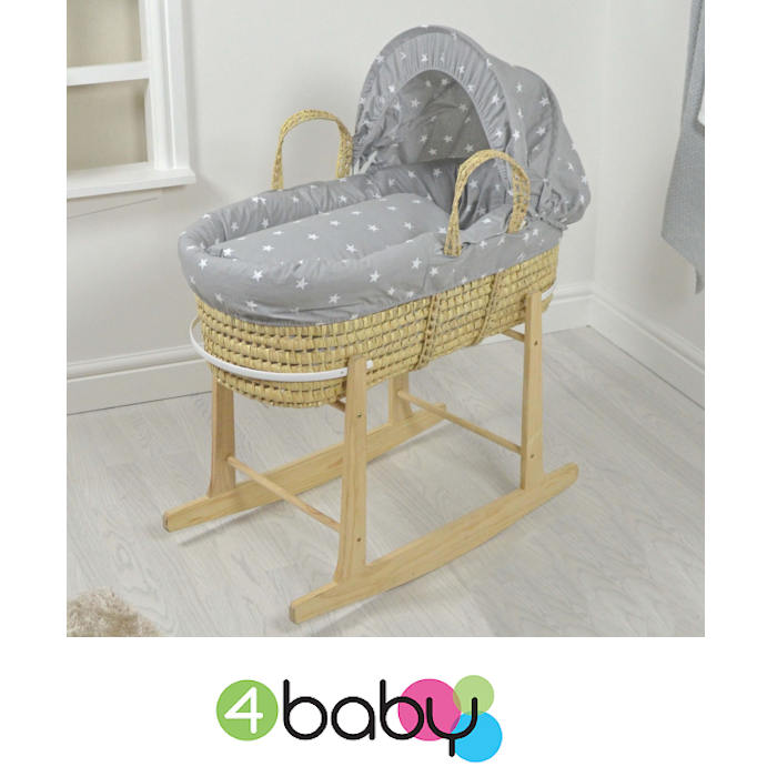 4baby Deluxe Palm Moses Basket & Rocking Stand - Grey - White Stars