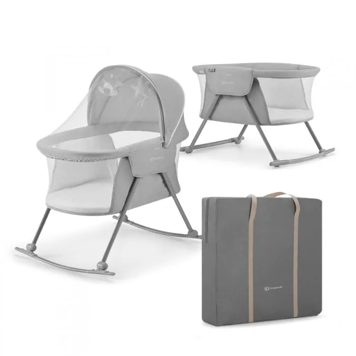 Kinderkraft Lovi 3 in 1 Baby Crib - Grey