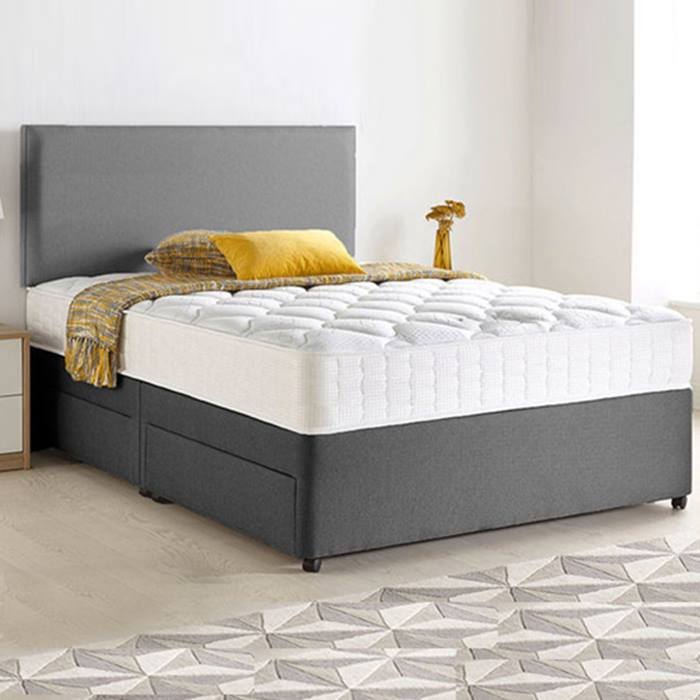 Chenille Divan Bed, Headboard & Memory Mattress plus Optional Storage - 6 Sizes!