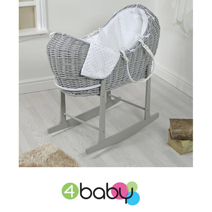 4baby Grey Wicker Snooze Pod & Rocking Stand