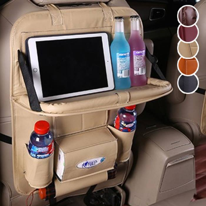 1 or 2 Faux Leather Car Seat Organiser with Table & Drinks Holders - 5 Colours