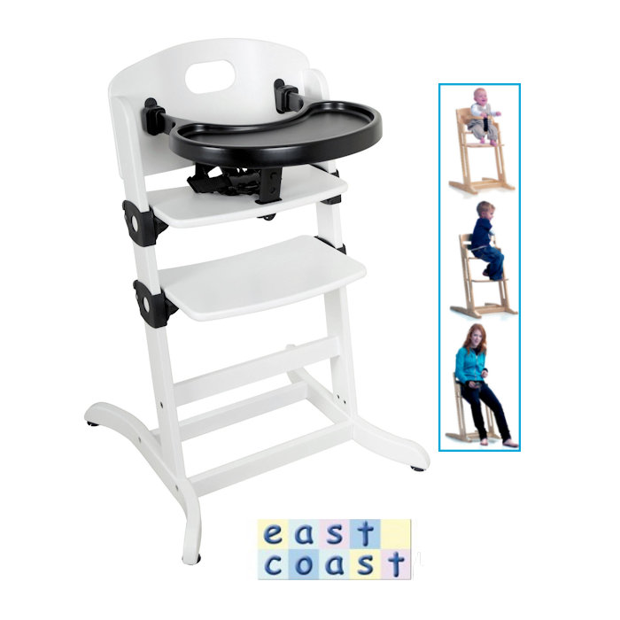 East Coast Contour Multi Height Wooden High Chair - White