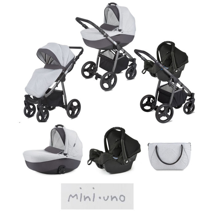 Mini Uno Stride Gemm Travel System - Grey Melange