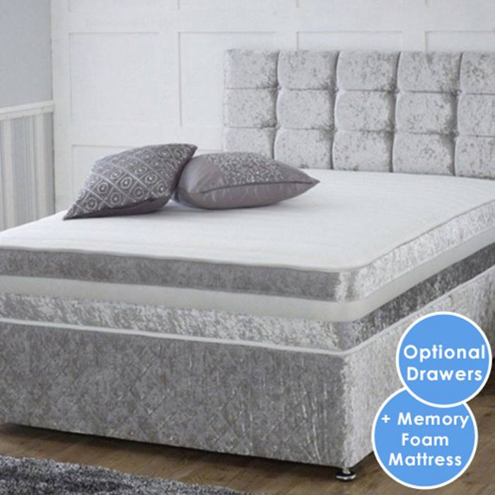 Crushed Velvet Divan Bed with Memory Sprung Mattress - 4 Colours, 6 Sizes & 3 Drawer Options